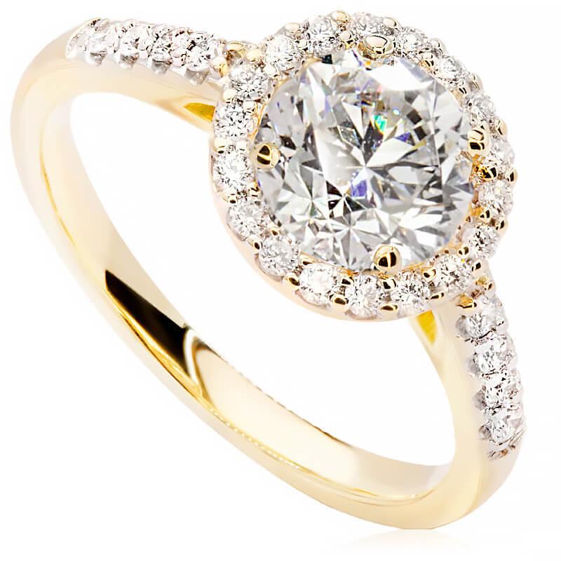 Pierścionek zaręczynowy z żółtego złota P0567ZB