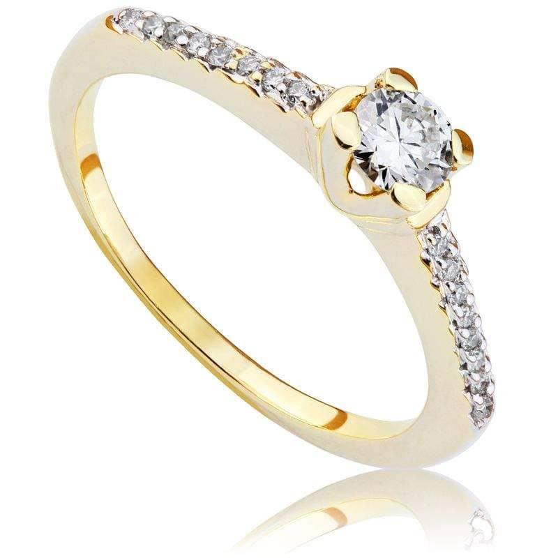 Pierścionek zaręczynowy z brylantami z żółtego złota P0474ZB