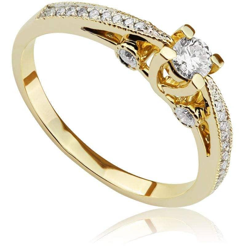 Pierścionek zaręczynowy z żółtego złota P0486ZB