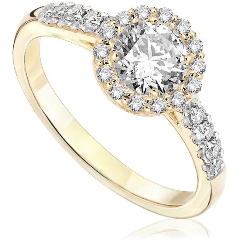 Pierścionek zaręczynowy z żółtego złota P0571ZB