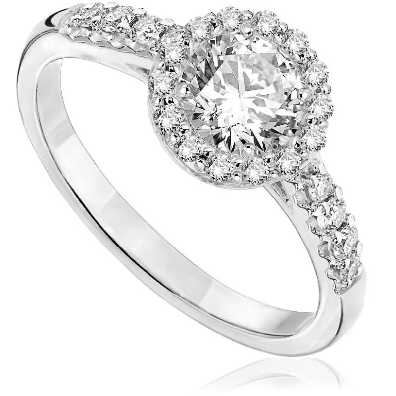 Pierścionek zaręczynowy z białego złota P0571BB