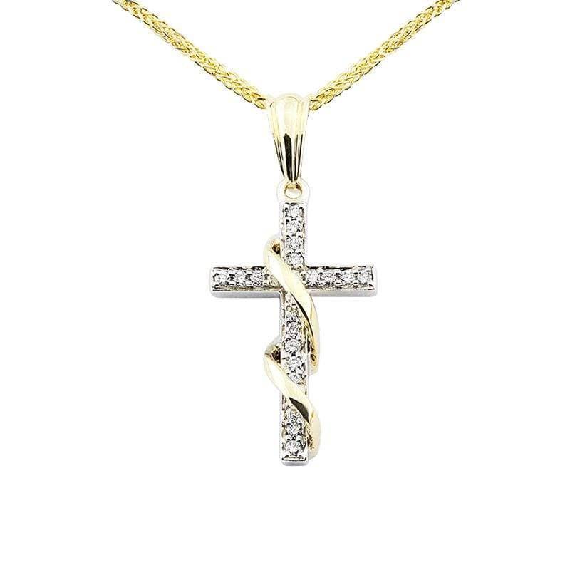 Zawieszka z diamentami z białego i żółtego złota Z0422TB