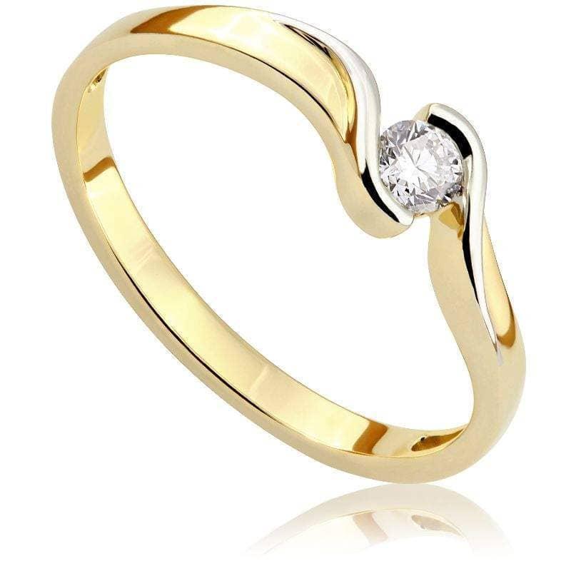 Pierścionek zaręczynowy z diamentem z żółtego złota P0415ZB