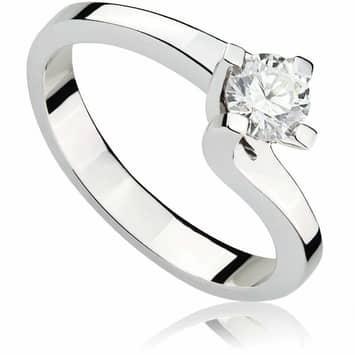 Pierścionek zaręczynowy z brylantem z białego złota 0,39ct