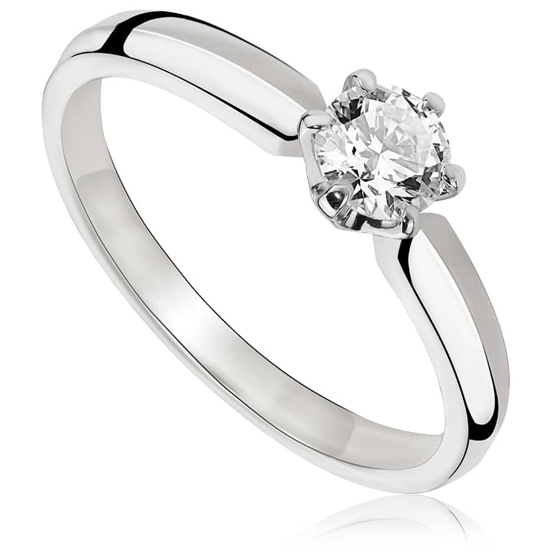 Pierścionek zaręczynowy z białego złota P0221BB
