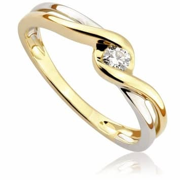 Pierścionek zaręczynowy z brylantem z białego i żółtego złota P0517TB 0,10ct