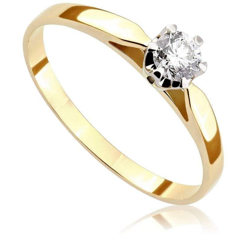 Pierścionek Zaręczynowy Z Diamentem Z Białego I Zółtego Złota