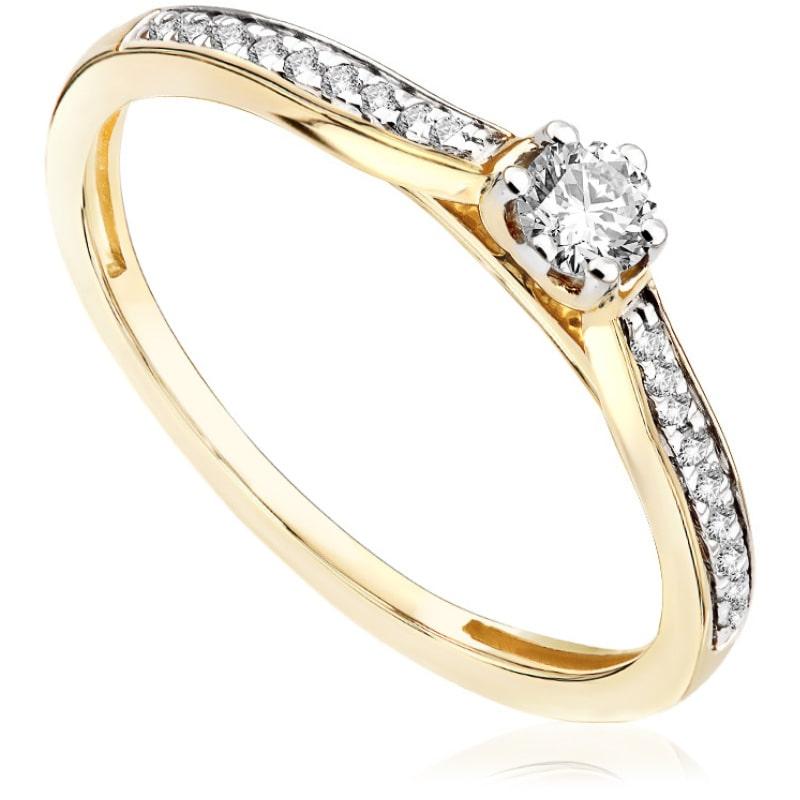Pierścionek zaręczynowy z żółtego złota P0529ZB