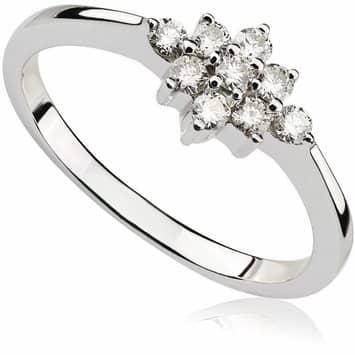 Pierścionek zaręczynowy z diamentami z białego złota P0419BB 0,25ct