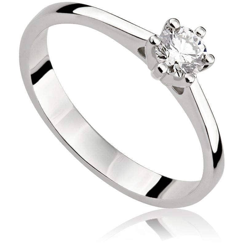 Pierścionek zaręczynowy z brylantem z białego złota P0202BB