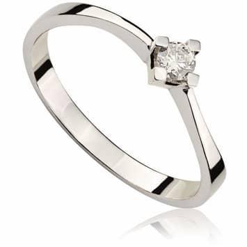 Pierścionek zaręczynowy z diamentem z białego złota P0004BB 0,10ct
