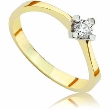 Pierścionek zaręczynowy z brylantem z białego i żółtego złota P0004TB 0,10ct